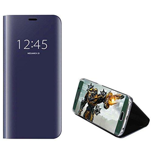 xinyunew Xiaomi Mi 8 Hülle,Mi 8 Schutzhülle 360 Grad +Displayschutzfolie Panzerglas Schutzfolie Spiegel Flip Ständer Book View Mirror Cover Tasche Etui Shell Slim Fit für Mi 8 Lila Blau