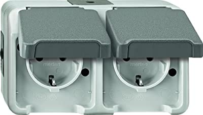 Merten 239039 SCHUKO-Doppel-Steckdose, waagerecht angeordnet, lichtgrau, AQUASTAR von Merten bei Lampenhans.de