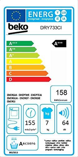 Beko DRY733CI asciugatrice Libera installazione Caricamento frontale Bianco 7 kg A+++
