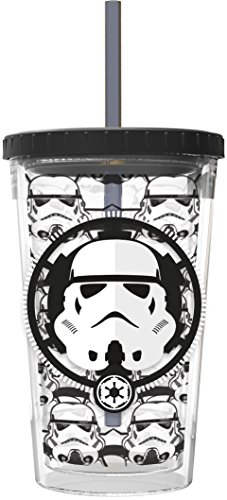Star Wars 01435-Bicchiere per caffè gelato da 473 ml, colore: bianco/nero