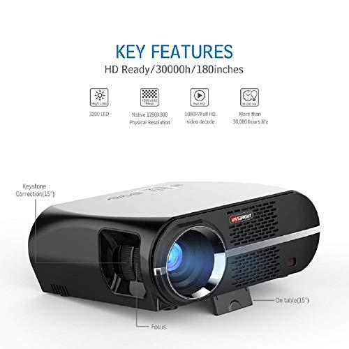 HLKYB HD Smart Projector, Video-Projektor, LCD 1080P Full-HD Level Bildqualität, WXGA Auflösung, In Ihrem Wohnzimmer Meet All Entertainment