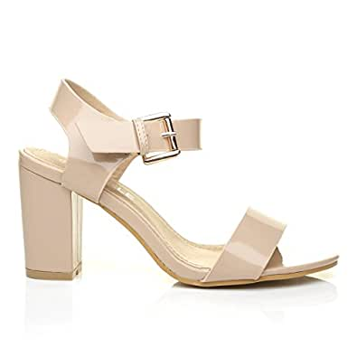 2cb53f4d19 ShuWish UK Carrie Nude Patent PU Leather High Block Heel Peep Toe Ankle  Strap Party Sandals: Amazon.co.uk: Shoes & Bags