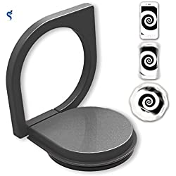 Finger Ring Stand, SeCro 360°Rotation Ring Mobile Phone Ring Stand Holder Metal Kickstand Car Mount Finger Grip Ring Holder Zinc Alloy [Dark Grey]
