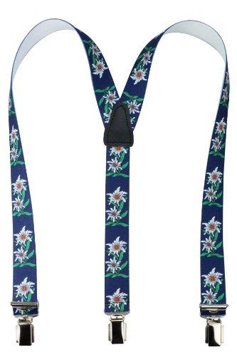 Bretelles pour enfants de haute qualité avec empiècement en vrai cuir Edelweiss bleu - Prime France