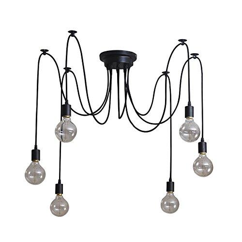 Signstek Deckenleuchte Lamp Industrial Vintage Stil Schmiedeeisen Large Semi Flush verwenden 8 E27 Edison Lampen in Schwarz für Studierzimmer Wohnzimmer Schlafzimmer (elegant 6)
