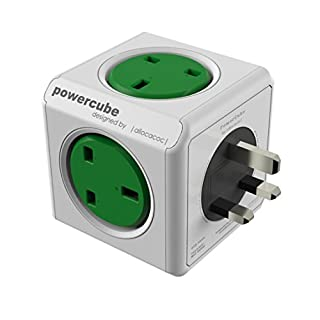 Powercube 7100GN/UKORPC 240 V Power Strip with 5-Way Socket - Kelly Green