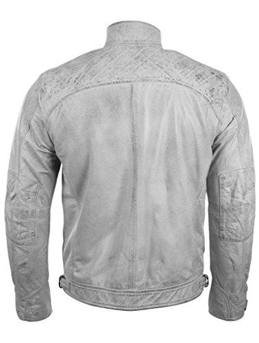 Herren-Bikerjacke von MDK aus 100 % superweichem Echtleder mit Rautensteppung an den Schultern Weinlese weiß