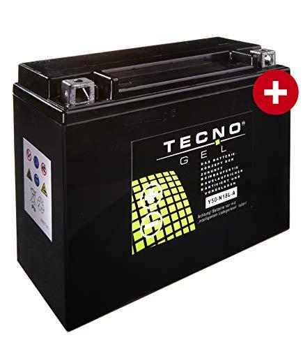 TECNO-GEL Motorrad-Batterie Y50-N18L-A, 12V Gel-Batterie 20Ah (DIN 52016), 205x90x162 mm incl. Pfand