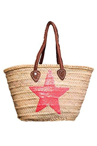 ORIGINAL Ibiza Tasche Korbtasche Strandtasche Celia 50cm groß | Marokkanische Palmblatt Einkaufskorb Einkaufstasche geflochten XXL | Natur Shopper Umhängetasche für Damen und Herren aus Marokko (Rosa)