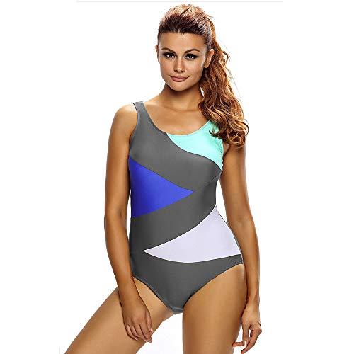 MICOKY Badeanzüge für Damen einteiliger Badeanzug sexy graue Nähte hohe Taille schlanker Dreieckbikini L -