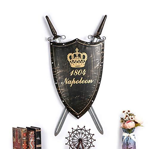 YLee Dekoration mittelalterlichen Alten römischen Schmiedeeisen Schild Wandbehang Schwert Dekoration Bar - Haus Zum Ritter Kostüm