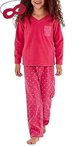 i-Smalls Filles Felicity Tout Estampillé Étoiles V Neck Pyjama avec Masque aux Yeux Chaud Rose (Hot Rose) 11-12