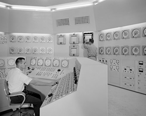 poster-a3-nasa-bill-fecych-and-don-johnson-in-control-room-in-1959-bill-fecych-seated-and-don-johnso