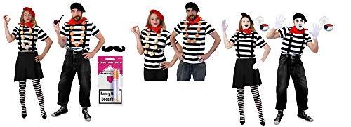 ILOVEFANCYDRESS PANOMIMEN Paar Variation French Zirkus Paare KOSTÜM VERKLEIDUNG Fasching Karneval=MIT KURZ ARM ODER LANG ARM ODER KURZ ARM MIT SCHMINKE=16 TEILIGES Set-Tshirt KURZ ARM-MEDIUM+Large (Clown Kostüm Frankreich)