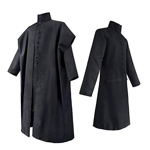 HeChao Costume d'halloween pour Homme Professeur Severus Snape Cosplay Costumes Costumes avec Cape Noire pour Adulte