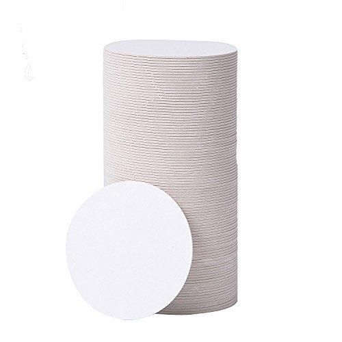 BAR DUDES Papier-Untersetzer, 100 Stück, 8,9 cm, rund, Karton-Untersetzer, Einweg-Crafting-Blankos, weiße Kreise, Untersetzer für Getränke, saugfähiger Untersetzer, zum Basteln, Basteln