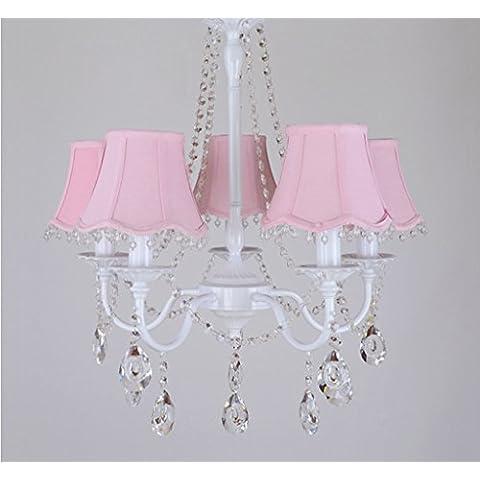 Chica sencilla nórdica estadounidense araña de Pastoral infantil lámpara del dormitorio de la lámpara en el salón ( Color : Pink