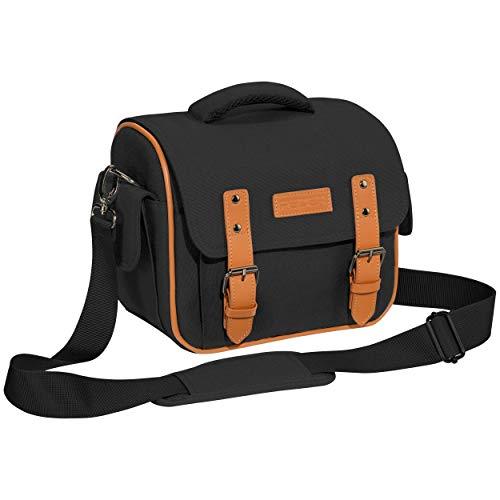 """PEDEA DSLR-Kameratasche \""""Vintage\"""" Fototasche für Spiegelreflexkameras mit wasserdichtem Regenschutz, Tragegurt und Zubehörfächern, Gr. XL schwarz"""