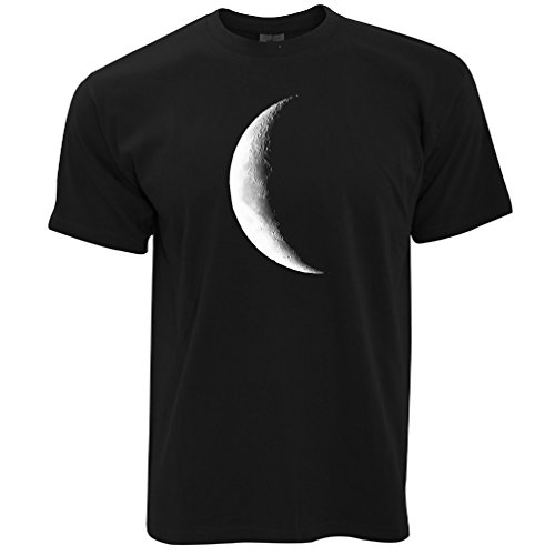 Tim And Ted Half Moon Galaxy Space Crescent Lunar Stars Astronomy Warning Phase Moonlight Daydream Moonshine Mens T-Shirt Cool Funny Gift Present