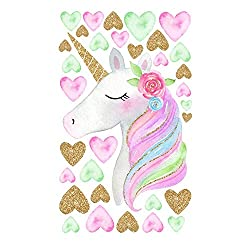 MAFENT Unicorn Wall Stickers Rainbow Colors Wall Decals Reflective Wall Stickers For Girls Bedroom Playroom Decoration (White Unicorn and Love Hearts)