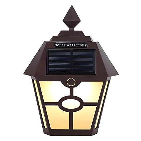 Yocitoy Solar Garten Licht LED PIR Bewegungssensor Wandleuchte, wasserdichte Wand Latern Zaun Lampen Outdoor Bewegungsmelder Aktiviert Licht für Patio, Deck, Hof, Garten, Haus, Auffahrt, Treppen Brown & White