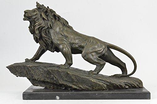 Statua di bronzo Scultura...Spedizione Gratuita...Extra Large selvatico africano leone su Prowl Wildlife Safari di Barye(YRD-678-EU)Statue Figurine Figurine Nude per ufficio e casa Décor Primo GiornoDeal