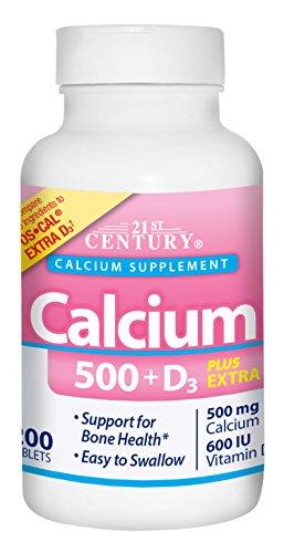 21st Century Calcium 500 Plus Extra D Caplets, 200 Count -