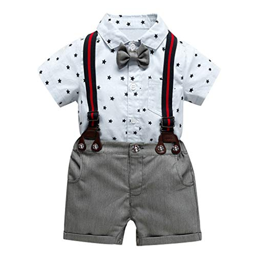DWQuee Baby Boy Kids Sommerkleidung Set Kurzarm Tops Elastic Striped Short Pants