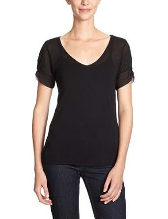 VERO MODA Damen T-Shirt, 10086111 Lissy Bow Sleeve Top, Gr. 36 (S), Schwarz (BLACK)