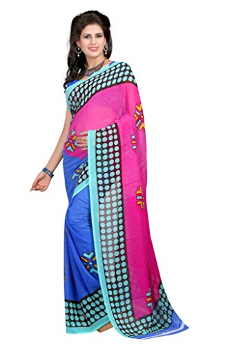 Vedant Vastram Woman's Faux Georgette Printed Saree With Blouse Piece (Blue & Pink Colour)