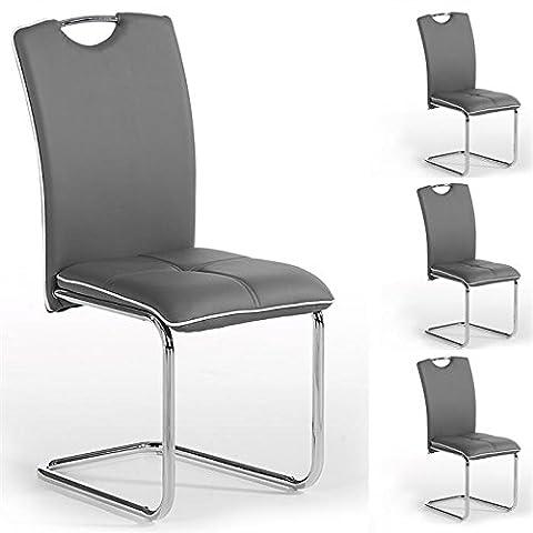 Lot de 4 chaises de salle à manger ELEONORA piètement chromé revêtement synthétique gris liseré blanc