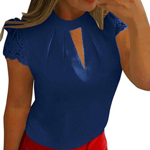 Deep V-ausschnitt Tank Top (Blusen Damen Kolylong® Frauen Elegant Spitze Kurzarm Bluse Festlich Chiffon Oberteile Sommer V-Ausschnitt Shirt Casual T-Shirt Slim Hemden Tunika Sweatshirt Tank Tops (Deep Blue, XXXXL))