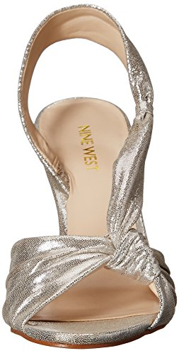 Nine West Ultana metallo con tacco del sandalo Light Silver