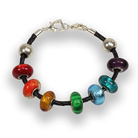 Balalabeads Rainbow Bracelet 7.13cm Leather Bracelet with Silver Plated Double Clasp System Featuring 7 X Handmade Lampwork Glass Beads and 2 X Metal European Style Spacer