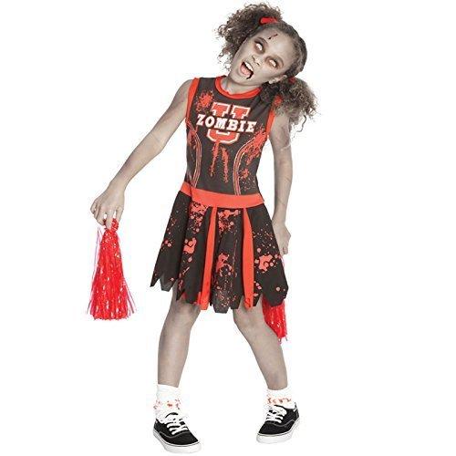 Deluxe Mädchen Kinder Halloween Party Zombie Untoter Cheerleader Maskenkostüm Kinder Outfit - Kinder: M