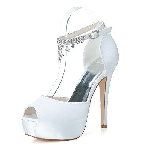 Elegant high shoes scarpe da sposa donna pl-3128-21 scarpe da sposa in raso con plateau e strass con pendenti in seta, white, 36