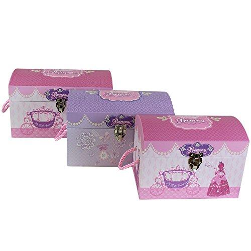 JVL Mädchen Prinzessin Schatz Spielzeug Truhen Aufbewahrungsboxen mit Metall Verschluss und Seil Griffe–Set von 3 (Schatz-truhe-aufbewahrungsbox)