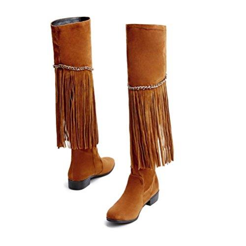 QPYC Ms Flat With Over The Knee Stivali nappa Side Zipper Large Size Scarpe da donna Decorazione catena in metallo brown