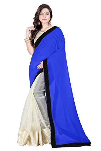 sarees (Women's Georgette and Net Saree With Blouse Material For Party wear, Wedding, Casual sarees)  available at amazon for Rs.399