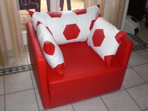 Schlafsessel im Fussball Look weiß rot