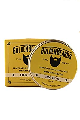 Organic Beard Balm - Big Sur - 30ml 100% Natural *Golden Beards* | Jojoba & Argan & Apricot Oil, Moisturise your beard and skin, get your beard on point, the perfect grooming product, mens beard grooming 100% Vegan & Organic Oils for real beards - Stop it