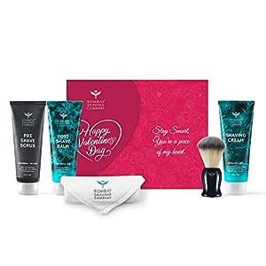 Bombay Shaving Company Shaving Essentials Gift Kit - Shaving Cream, Scrub, Post Shave Balm, Immitation Badger Brush for Valentine's Day