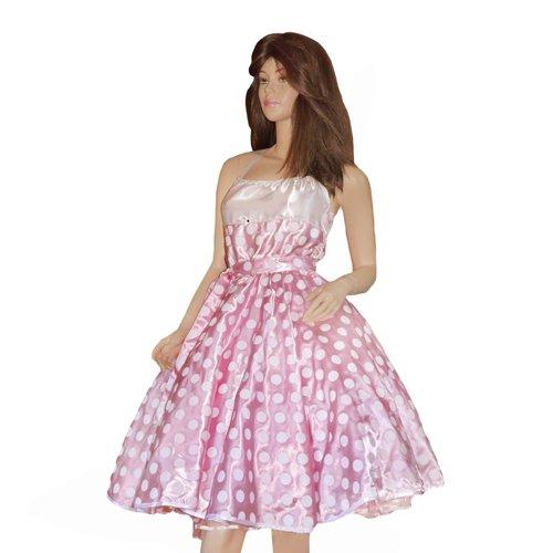 (Tellerrock Teller Rock Röcke Kleid für Petticoat Petticoats Pettycoat in rosa mit weißen Punkten Gr. S - M K10)