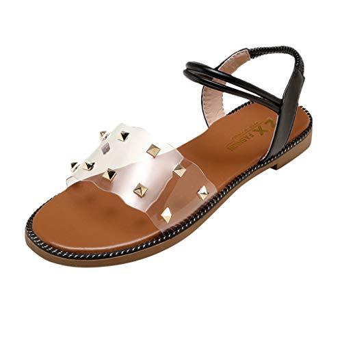 ❀❀❀Eaylis Damen Einfarbige Flache Sandalen Mit Sommernieten