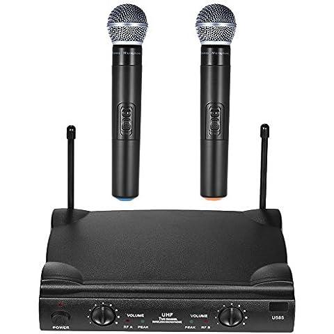 ammoon UHF Canales Duales Micrófono Inalámbrico Sistema de Micrófono con 1 Receptor 2 Micrófonos de Mano 6,35 mm Cable de Audio Adaptador de Corriente para el Karaoke Reunión