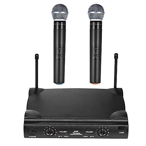 ammoon deux canaux Système de microphones Microphone sans fil UHF