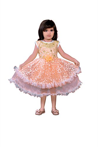 White World Baby Girls Orange Color Birthday Party wear Frock Dress-4-5 Years