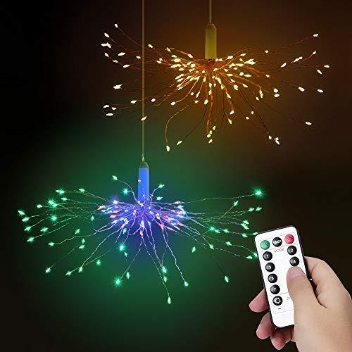 LED Feuerwerk Lichterketten 2 Stück Bawoo LED Lichterkette Weihnachtslichterkette IP65 wasserdicht mit Fernbedienung (Warmes Weiß + Farbig)