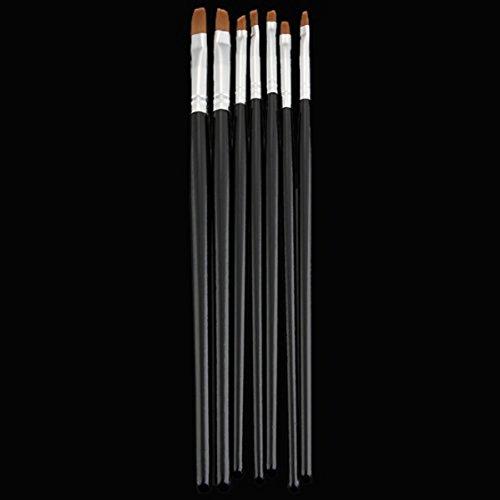 SODIAL(R) 7x Acryl UV Gel Nagel Pinsel Set Gelpinsel B¨¹rste Nail Art Design Pen Schwarz - 4