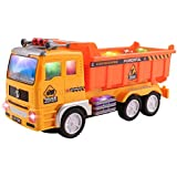 Ajmeri Electric Dump Model Truck Construction Toy For Kids With Flashing Lights And Sounds, Rotating Bump And Go Action, Great Gift For Children